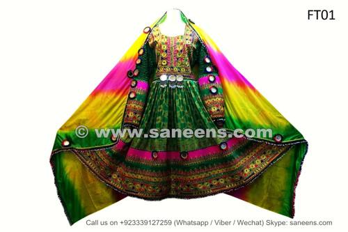 afghan pashtun singer dress in green color