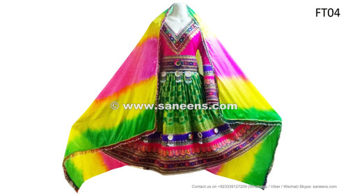 afghani dress in green pink color