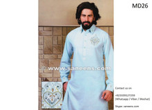 afghani suit for men in light blue color