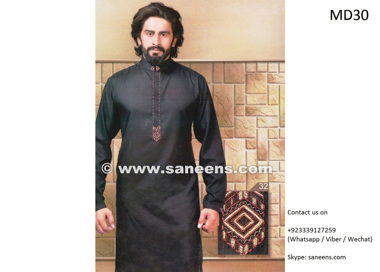 Wedding Dress For Men.Afghan Clothing For Men In Black Color With Embroidery Work