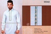 Pakistani Kurta In White Color Muslimah Fashion Dress With Tape Work