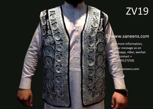 afghan vest, pathan waistcoat with zardozi work