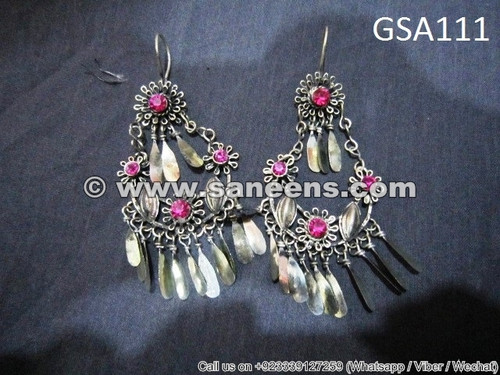 traditional afghan muslim ladies earrings with stones
