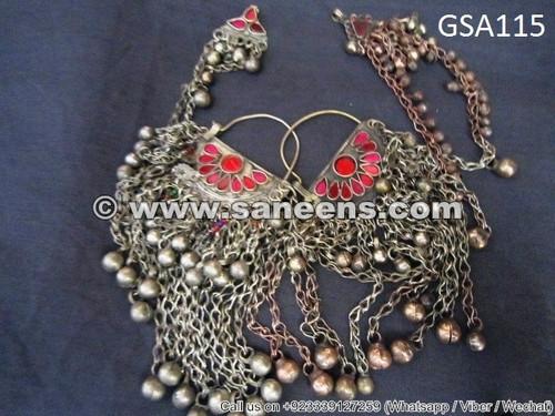 afghan muslim earrings, kuchi banjara jewellery earrings, bellydance performance earrings online jewelry store