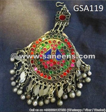afghan nomad forehead jewelry, tribal artwork tika pendant