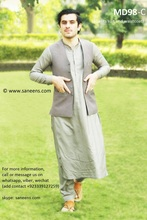 Pakistani Men Clothes And Vest In Gray Color Muslim Men Fashion