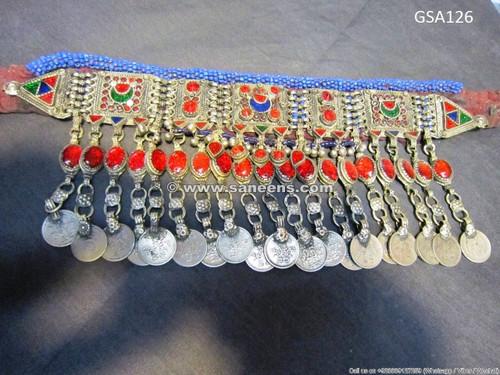afghan kuchi choker, handmade tribal necklace, bellydance jewelry