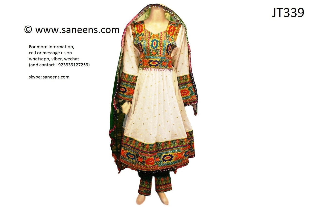 Afghan Pakhtoon Dress In White Islamic Nikah Frock Clothes