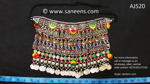 afghan jewelry, kuchi ethnic necklace with coins