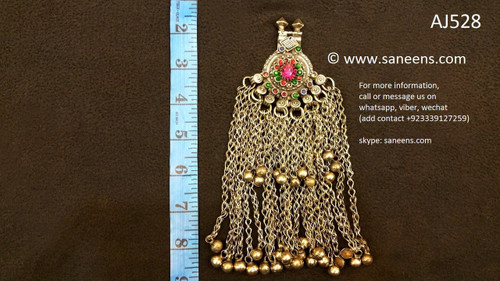 afghan jewelry, kuchi fashion long pendant