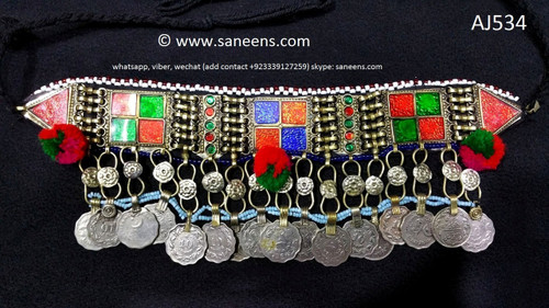 afghan jewelry, kuchi coins necklace
