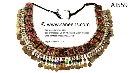 afghan jewelry, kuchi belt with coins