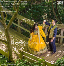 Afghan bridal kuchi fashion dresses in yellow color with beautiful groom vest