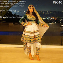 Afghan kuchi style new frock gown type in white and green color
