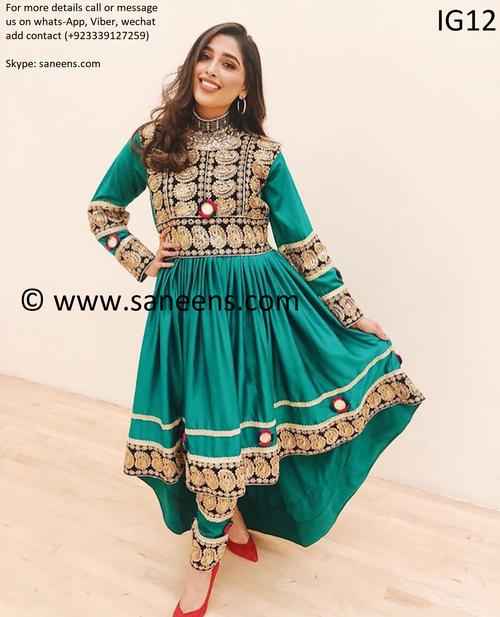 New afghan bridal fashion kuchi bridesmaids dress in green color