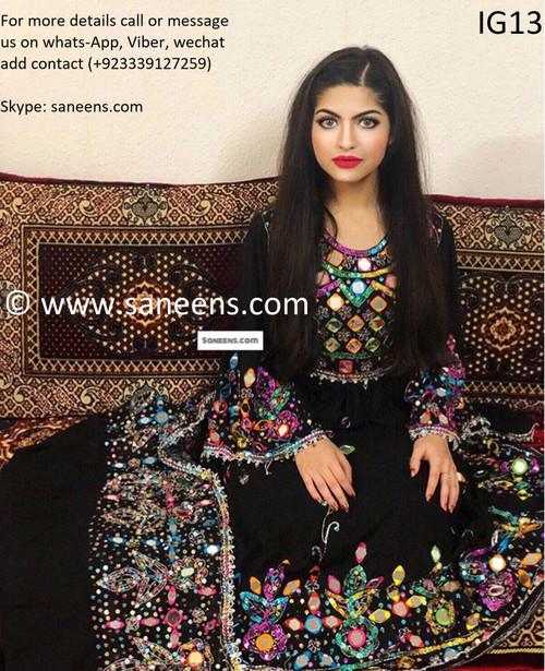 Afghan fashion kuchi mirror work dress by saneens.com