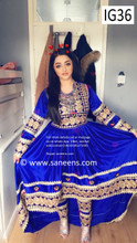 New afghan fashion gowns with beautiful embroidery  in blue color