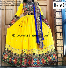 New afghan bridal embroidery  fashion cultural gown in yellow color