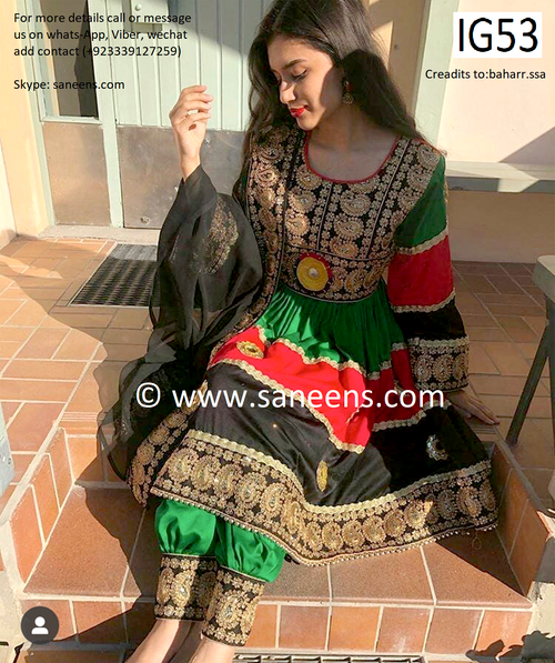 new Afghanistan flag color embroidery hard work dress