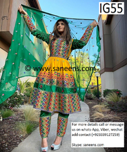 New afghan pashtun style kuchi mirror work three piece suit