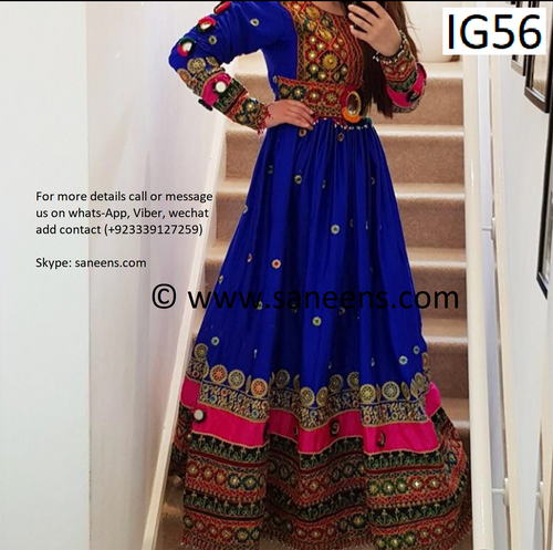 New traditional kuchi mirror yakhan  style clothes in blue color