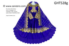 afghan clothes, afghani high low design blue dress