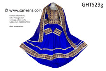 afghan clothes, pashtun brides frock with blue lace work