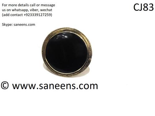 afghan kuchi simple rings in black stone