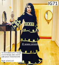 Traditional Aryana Saeed black dress in golden embroidery