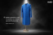 New afghan men simple long coat in blue color