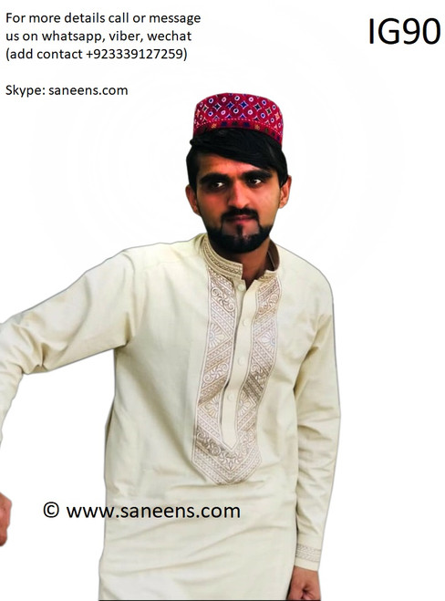 New afghan hard embroidery dress for men