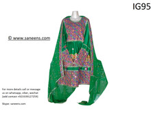 New afghan traditional kuchi style mirror work dress in green color