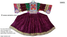 Purple Color Afghan Kuchi Ethnic Dress With Dast Dozi Charma Kari