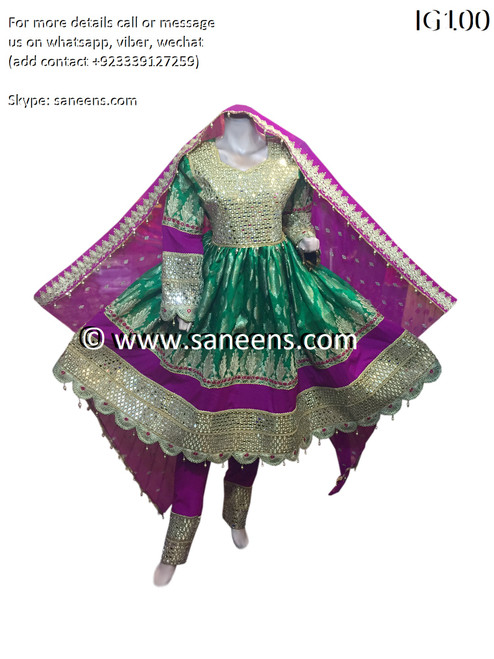 New saneens pathani frock in green color