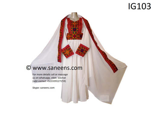 New tribal ethnic white simple embroidery