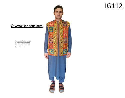 New Afghan online nikkah vest with mirror work