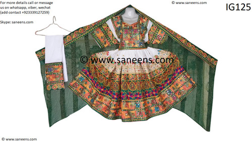 New afghan clothes in green embroidery