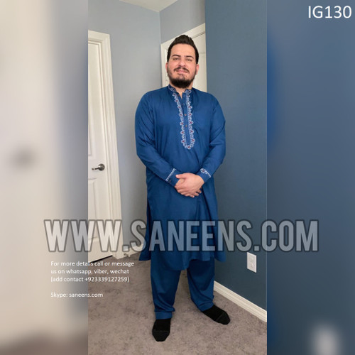 New afghan men clothes with simple embroidery