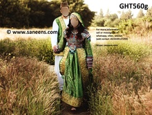 Afghan Kuchi Coins Dress In Green Banarasi High Low Design