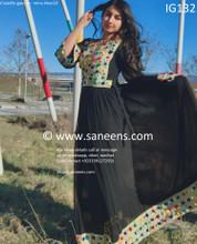 New afghan fashionable mirror work black dress by mina khan