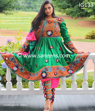 New afghan fashionable embroidery dress in green color