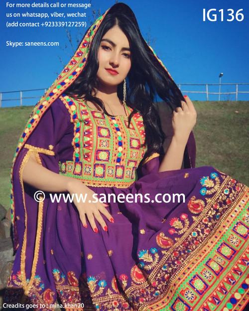 New afghan fashionable kuchi purple dress