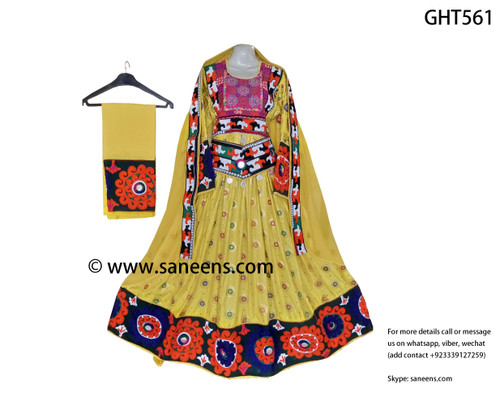 New afghan bridals embroidery dress by saneens in yellow color