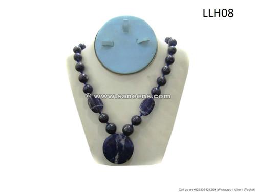 afghan lapis stone necklace, tribal artwork lapis beads choker