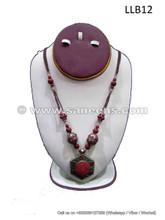 handmade tribal artwork coral stone choker locket