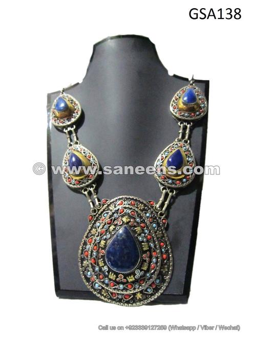 vintage afghan kuchi tribal necklace choker locket