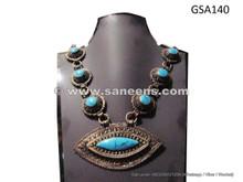 afghan turquoise feroza stone necklace choker