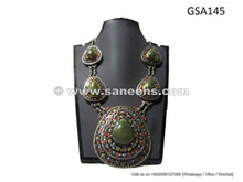 afghan pashtun ladies agate stone necklace choker