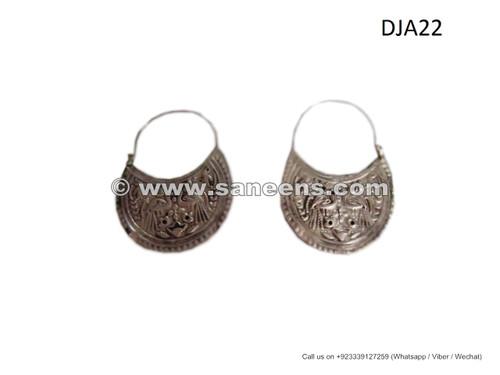 afghan jewelry, afghan embossed earrings, kuchi ethnic earrings, nomad bird shape earrings