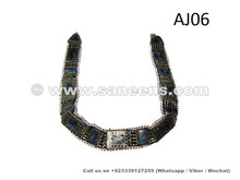 afghan tribal belt with lapis stone